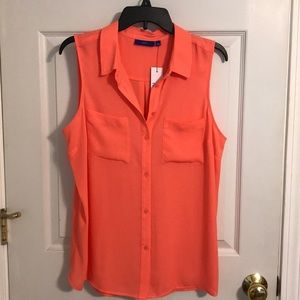 Coral button up sleeveless blouse